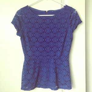 Royal Blue Peplum Top, Lace with Liner, XS